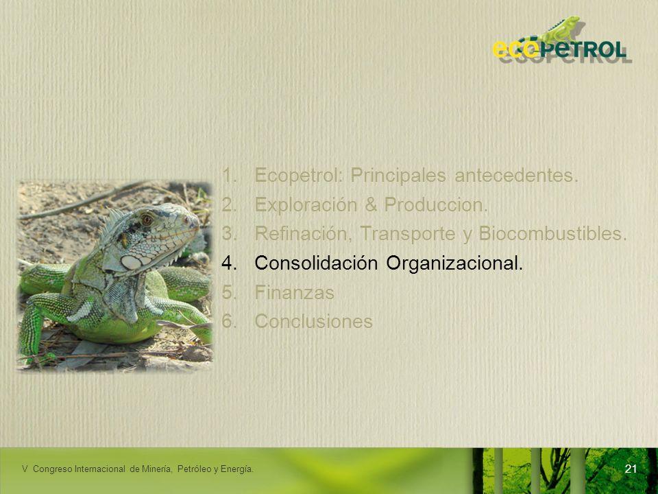 LACPEC 2009 1.Ecopetrol: Principales antecedentes. 2.Exploración & Produccion. 3.Refinación, Transporte y Biocombustibles. 4.Consolidación Organizacio
