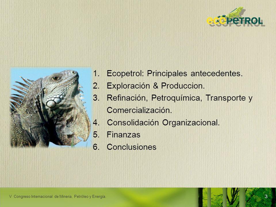 LACPEC 2009 1.Ecopetrol: Principales antecedentes. 2.Exploración & Produccion. 3.Refinación, Petroquímica, Transporte y Comercialización. 4. Consolida