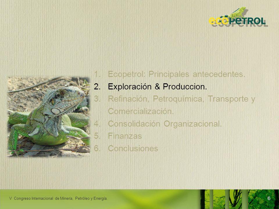 LACPEC 2009 1.Ecopetrol: Principales antecedentes. 2.Exploración & Produccion. 3.Refinación, Petroquímica, Transporte y Comercialización. 4.Consolidac