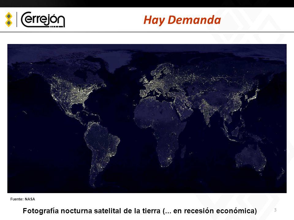 3 Hay Demanda Fuente: NASA Fotografía nocturna satelital de la tierra (... en recesión económica)