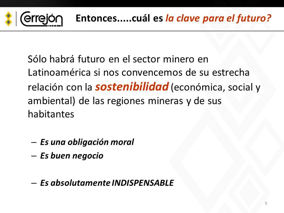 9 Entonces.....cuál es la clave para el futuro? Sólo habrá futuro en el sector minero en Latinoamérica si nos convencemos de su estrecha relación con