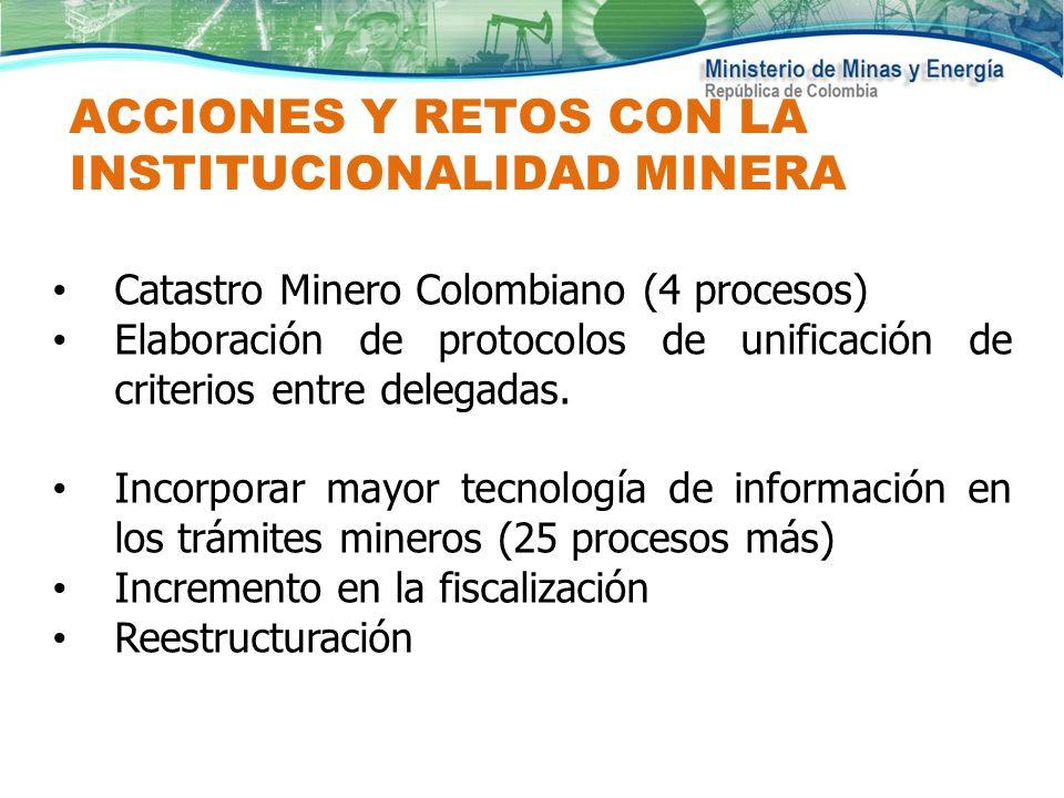 ACCIONES Y RETOS CON LA INSTITUCIONALIDAD MINERA Catastro Minero Colombiano (4 procesos) Elaboración de protocolos de unificación de criterios entre d