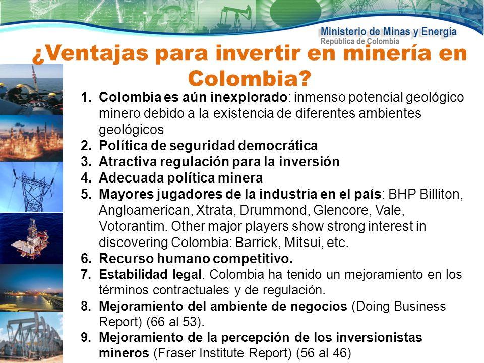 1.Colombia es aún inexplorado: inmenso potencial geológico minero debido a la existencia de diferentes ambientes geológicos 2.Política de seguridad de