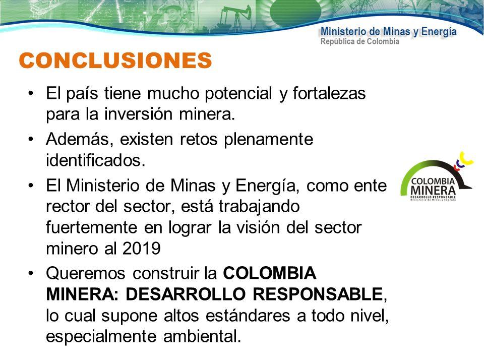 CONCLUSIONES El país tiene mucho potencial y fortalezas para la inversión minera. Además, existen retos plenamente identificados. El Ministerio de Min