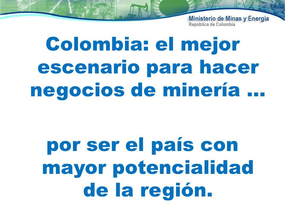 Colombia: el mejor escenario para hacer negocios de minería … por ser el país con mayor potencialidad de la región.