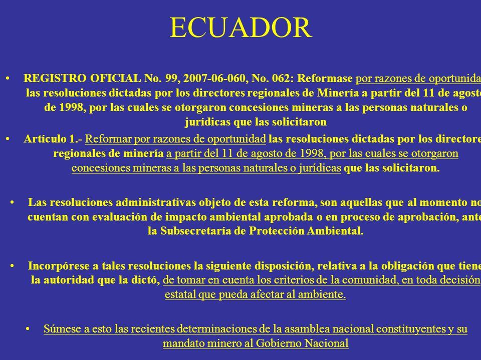 ECUADOR REGISTRO OFICIAL No. 99, 2007-06-060, No. 062: Reformase por razones de oportunidad las resoluciones dictadas por los directores regionales de