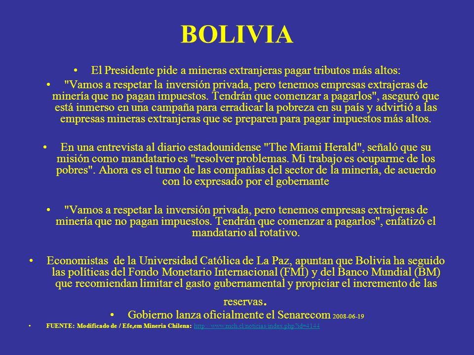 BOLIVIA El Presidente pide a mineras extranjeras pagar tributos más altos: