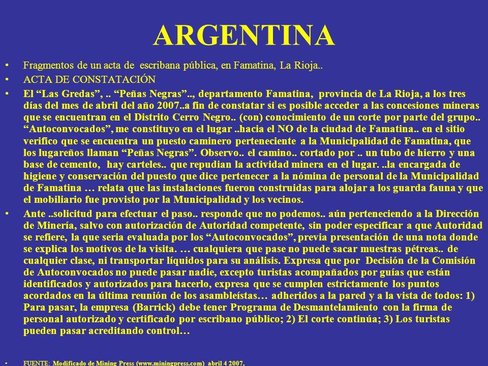 ARGENTINA Fragmentos de un acta de escribana pública, en Famatina, La Rioja.. ACTA DE CONSTATACIÓN El Las Gredas,.. Peñas Negras.., departamento Famat