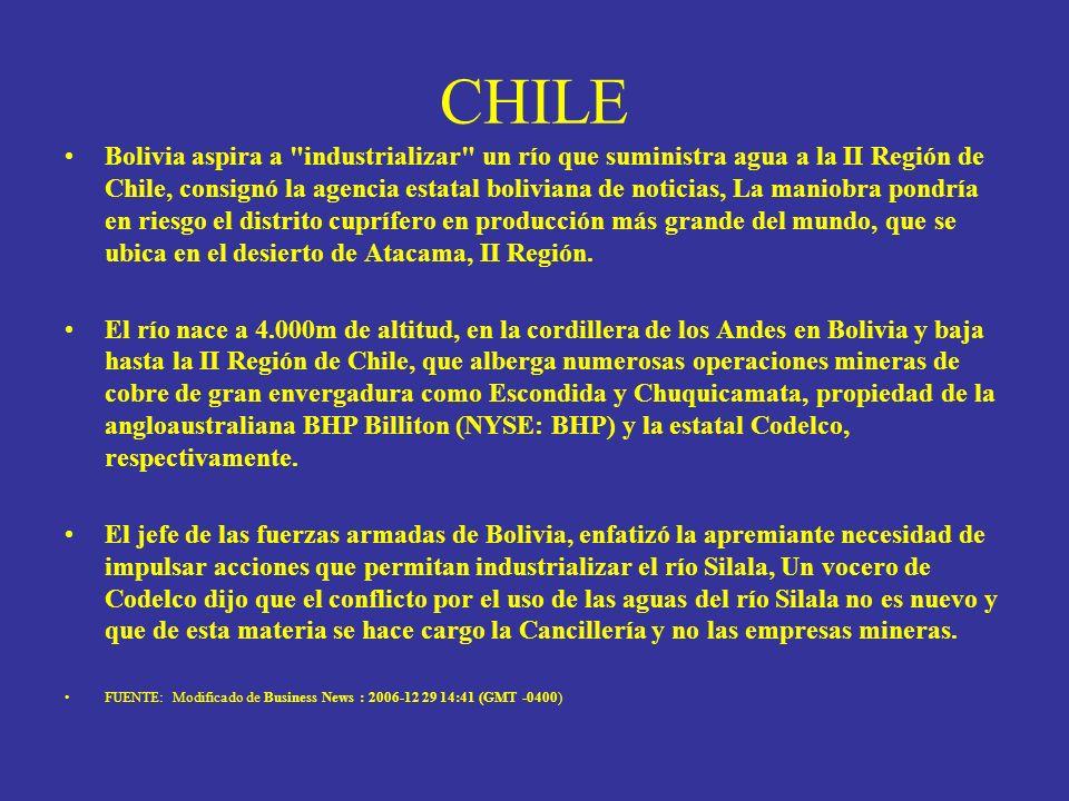 CHILE Bolivia aspira a