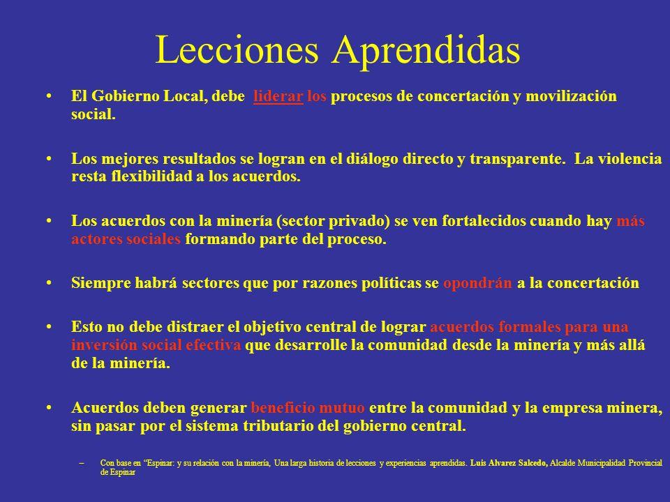 Lecciones Aprendidas El Gobierno Local, debe liderar los procesos de concertación y movilización social. Los mejores resultados se logran en el diálog