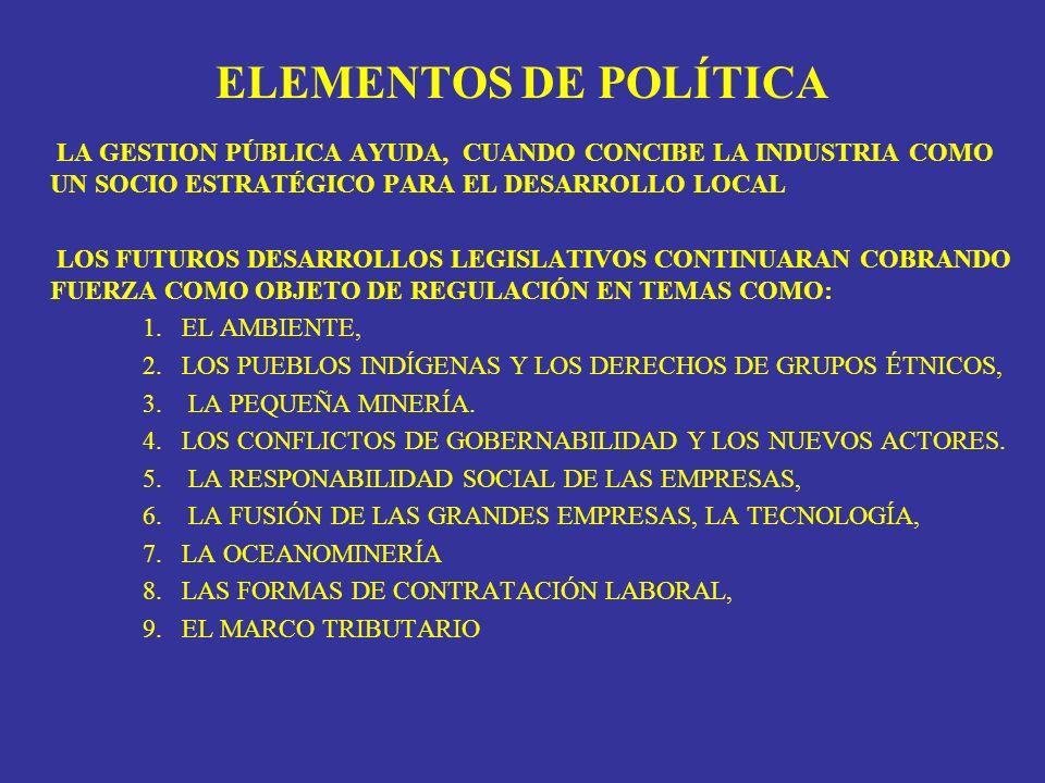 ELEMENTOS DE POLÍTICA LA GESTION PÚBLICA AYUDA, CUANDO CONCIBE LA INDUSTRIA COMO UN SOCIO ESTRATÉGICO PARA EL DESARROLLO LOCAL LOS FUTUROS DESARROLLOS