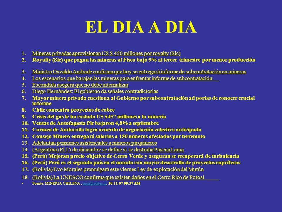 EL DIA A DIA 1.Codelco evalúa acciones legales para revertir informe de subcontratación, En la minera no quedaron conformes con el documento de la Dirección del Trabajo que insta a contratar 2.042 empleados externos de Chuquicamata y Radomiro Tomic.