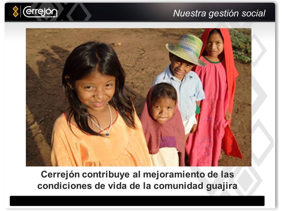 Responsabilidad social Organización fortalecida Total inversión social: Educación, Salud, Cultura, Deporte, Nutrición 2006 US$ 3.5 millones 2007 US$ 5.1 millones 2008 US$ 6.2 millones Foco, desarrollo sostenible, visión de futuro Reasentamiento Fundaciones