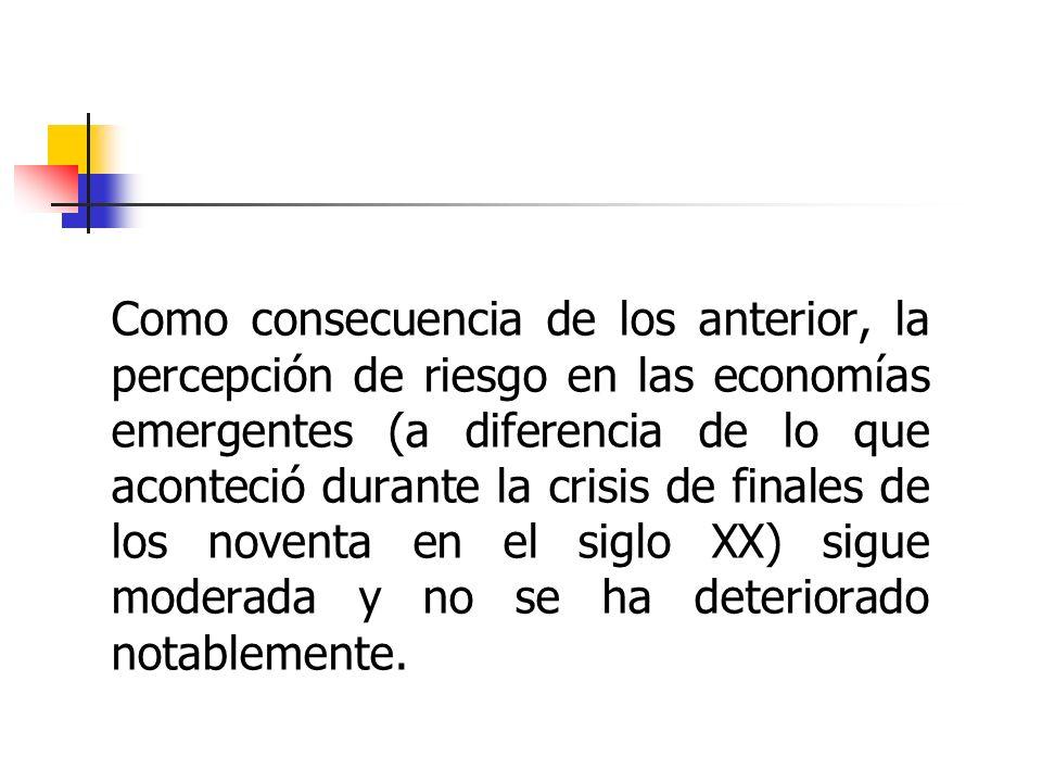 Como consecuencia de los anterior, la percepción de riesgo en las economías emergentes (a diferencia de lo que aconteció durante la crisis de finales