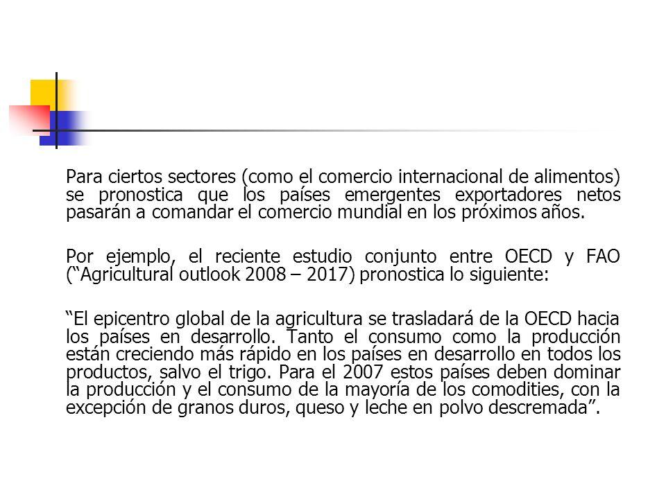 Para ciertos sectores (como el comercio internacional de alimentos) se pronostica que los países emergentes exportadores netos pasarán a comandar el c