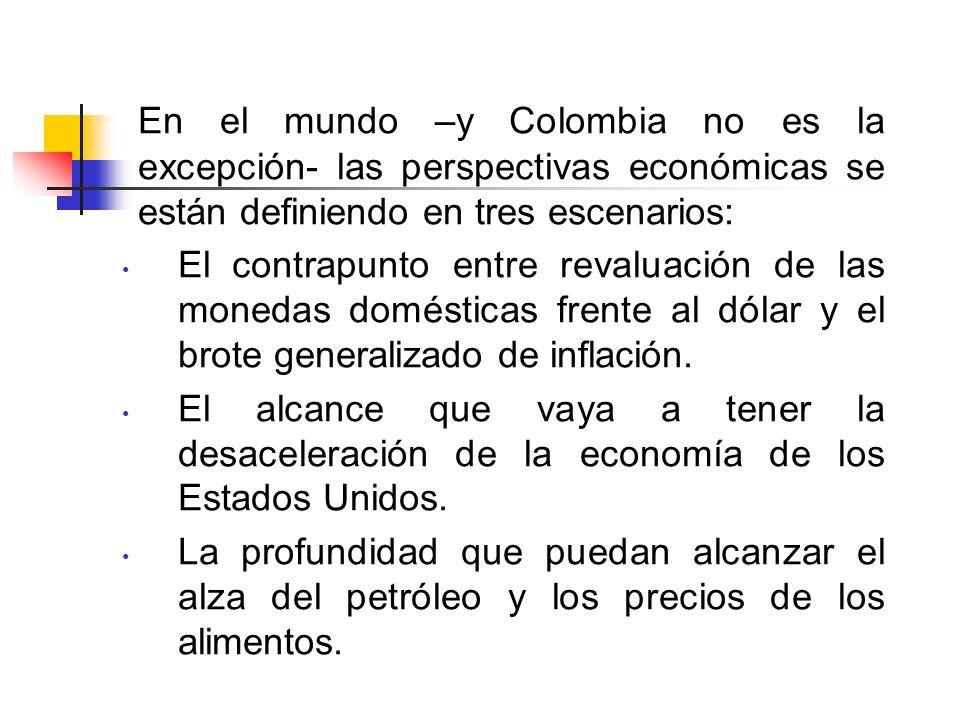 En el mundo –y Colombia no es la excepción- las perspectivas económicas se están definiendo en tres escenarios: El contrapunto entre revaluación de las monedas domésticas frente al dólar y el brote generalizado de inflación.