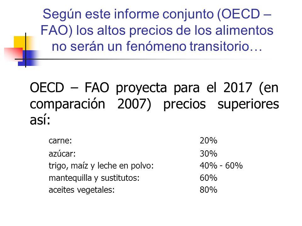 Según este informe conjunto (OECD – FAO) los altos precios de los alimentos no serán un fenómeno transitorio… OECD – FAO proyecta para el 2017 (en comparación 2007) precios superiores así: carne:20% azúcar:30% trigo, maíz y leche en polvo: 40% - 60% mantequilla y sustitutos: 60% aceites vegetales:80%