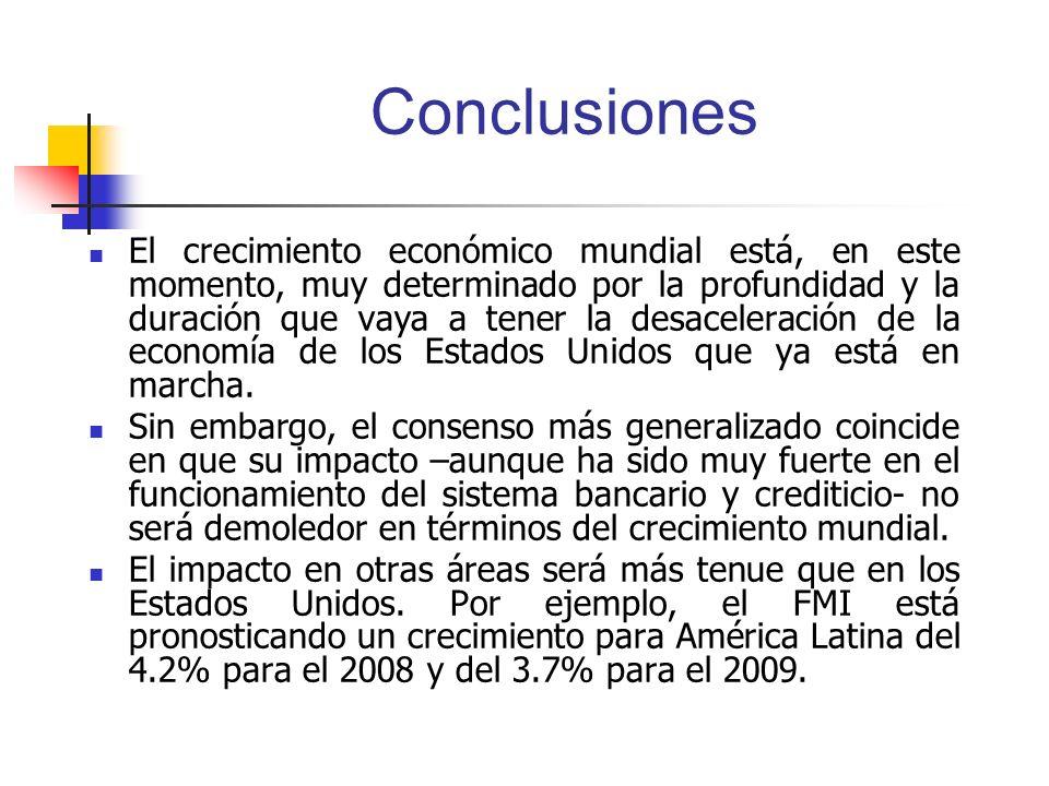 Conclusiones El crecimiento económico mundial está, en este momento, muy determinado por la profundidad y la duración que vaya a tener la desaceleraci
