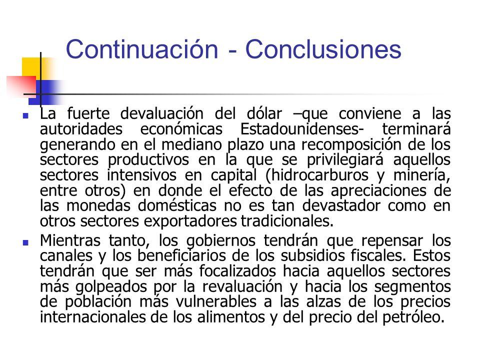 Continuación - Conclusiones La fuerte devaluación del dólar –que conviene a las autoridades económicas Estadounidenses- terminará generando en el medi