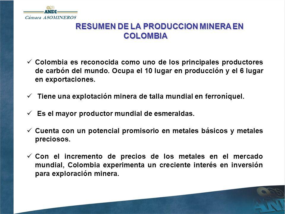 Cámara ASOMINEROS RESUMEN DE LA PRODUCCION MINERA EN COLOMBIA Colombia es reconocida como uno de los principales productores de carbón del mundo.