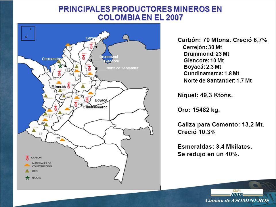 Cámara ASOMINEROS EXPORTACIONES MINERAS EN COLOMBIA - 2007 El sector minero representa 21% de las exportaciones colombianas y las expectativas son bastante favorables, dada la tendencia creciente en precios.