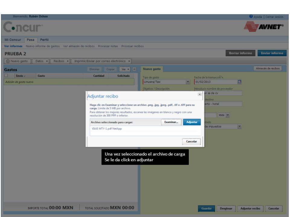 Una vez seleccionado el archivo de carga Se le da click en adjuntar
