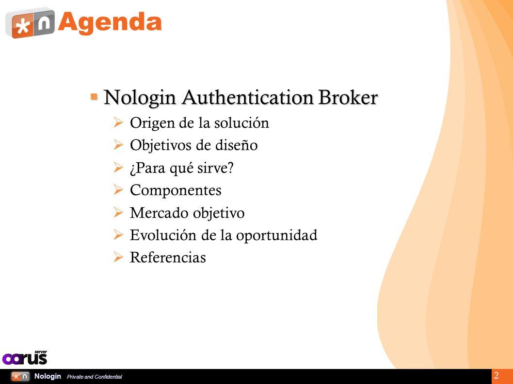 Nologin Private and Confidential 3 Nologin Authentication Broker Origen de la solución La banca electrónica se hizo popular a finales de los 90 y principios de los 2000.