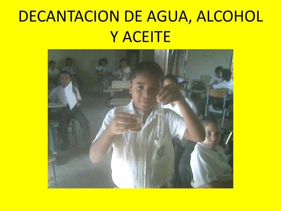 DECANTACION DE AGUA, ALCOHOL Y ACEITE