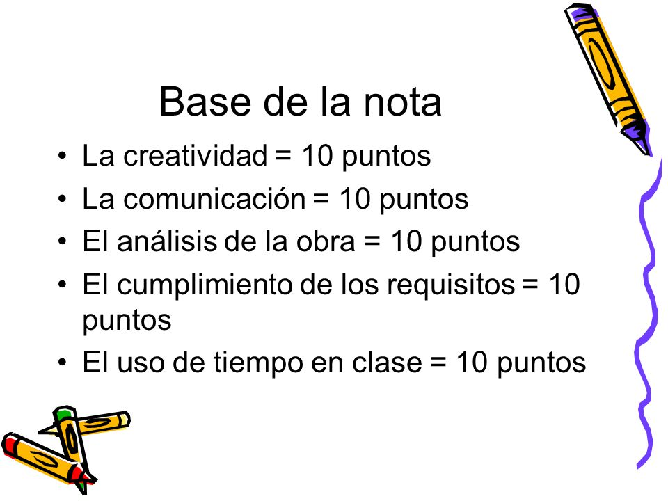 Base de la nota La creatividad = 10 puntos La comunicación = 10 puntos El análisis de la obra = 10 puntos El cumplimiento de los requisitos = 10 puntos El uso de tiempo en clase = 10 puntos