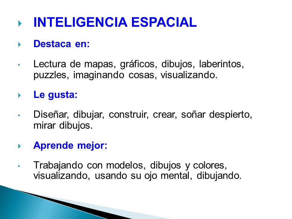 INTELIGENCIA ESPACIAL Destaca en: Lectura de mapas, gráficos, dibujos, laberintos, puzzles, imaginando cosas, visualizando. Le gusta: Diseñar, dibujar