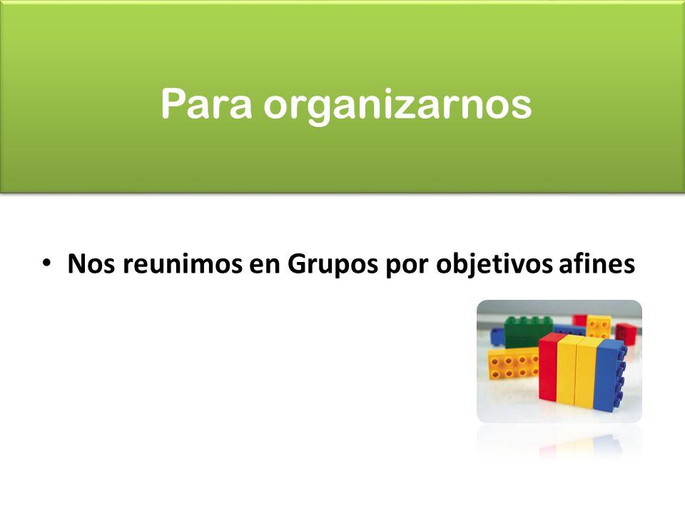 Para organizarnos Nos reunimos en Grupos por objetivos afines