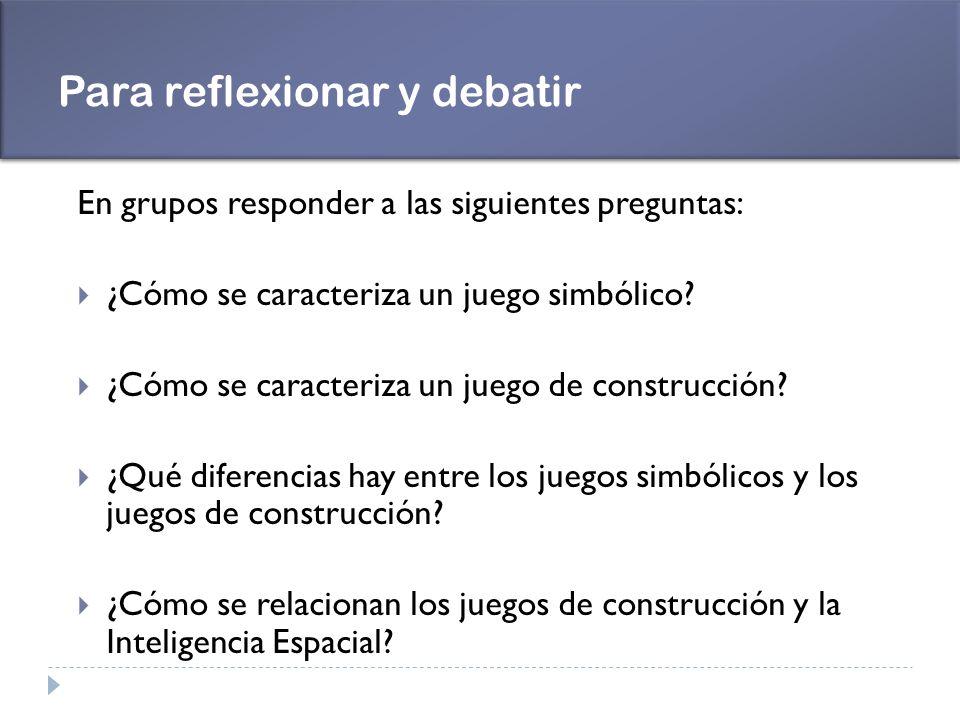 Para reflexionar y debatir En grupos responder a las siguientes preguntas: ¿Cómo se caracteriza un juego simbólico? ¿Cómo se caracteriza un juego de c