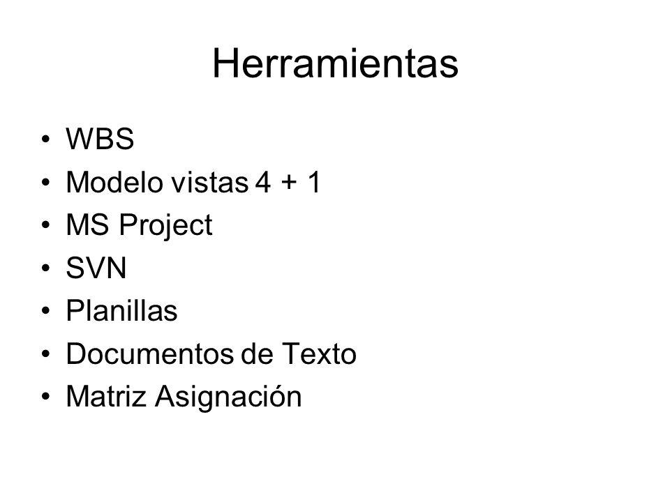 Herramientas WBS Modelo vistas 4 + 1 MS Project SVN Planillas Documentos de Texto Matriz Asignación