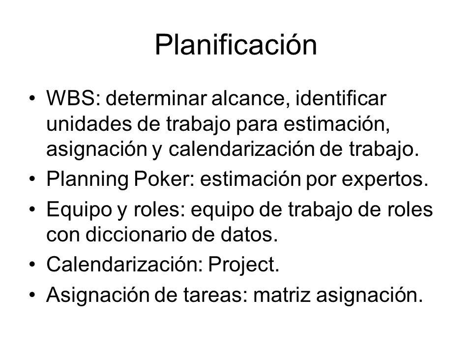 Planificación WBS: determinar alcance, identificar unidades de trabajo para estimación, asignación y calendarización de trabajo. Planning Poker: estim