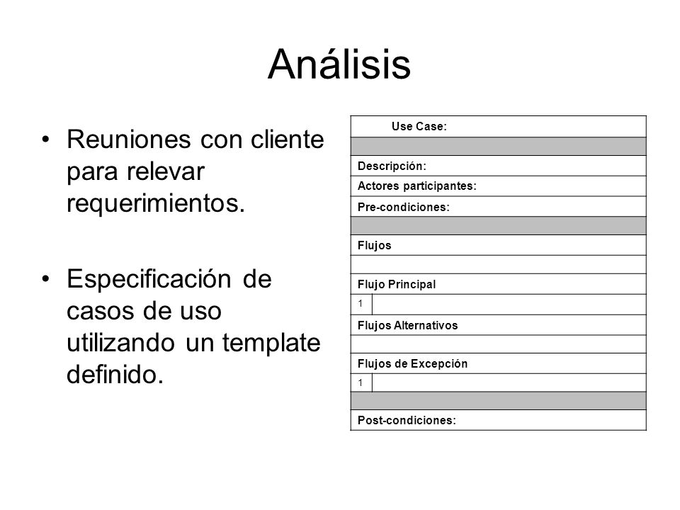 Análisis Reuniones con cliente para relevar requerimientos. Especificación de casos de uso utilizando un template definido. Use Case: Descripción: Act
