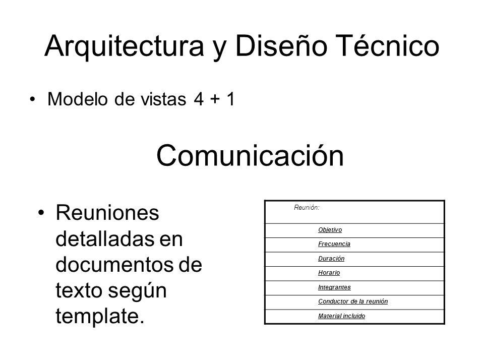Arquitectura y Diseño Técnico Modelo de vistas 4 + 1 Comunicación Reuniones detalladas en documentos de texto según template. Reunión: Objetivo Frecue