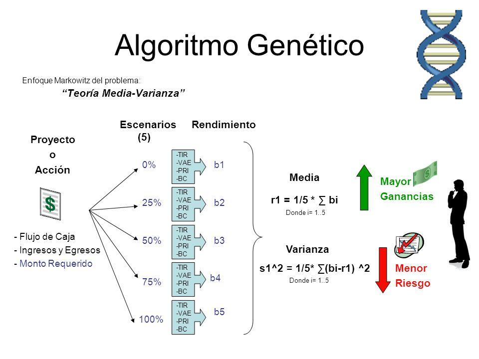 Algoritmo Genético Enfoque Markowitz del problema: Teoría Media-Varianza - Flujo de Caja - Ingresos y Egresos - Monto Requerido Escenarios (5) Proyect