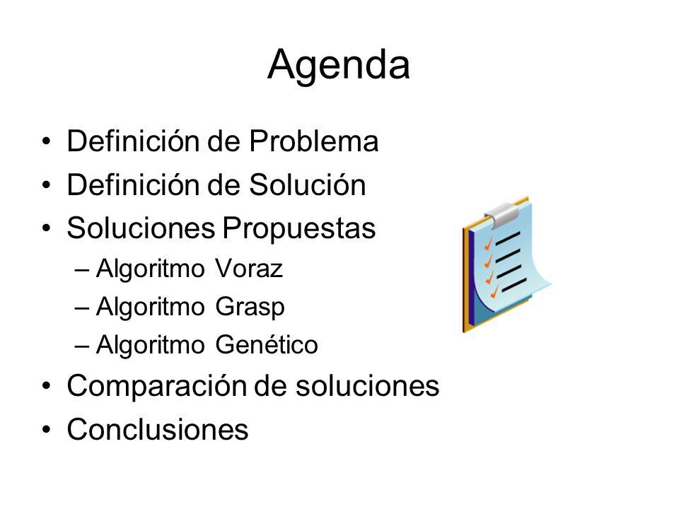 Agenda Definición de Problema Definición de Solución Soluciones Propuestas –Algoritmo Voraz –Algoritmo Grasp –Algoritmo Genético Comparación de soluci
