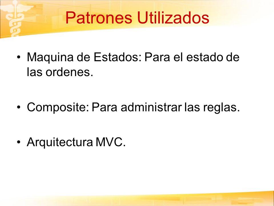 Patrones Utilizados Maquina de Estados: Para el estado de las ordenes. Composite: Para administrar las reglas. Arquitectura MVC.