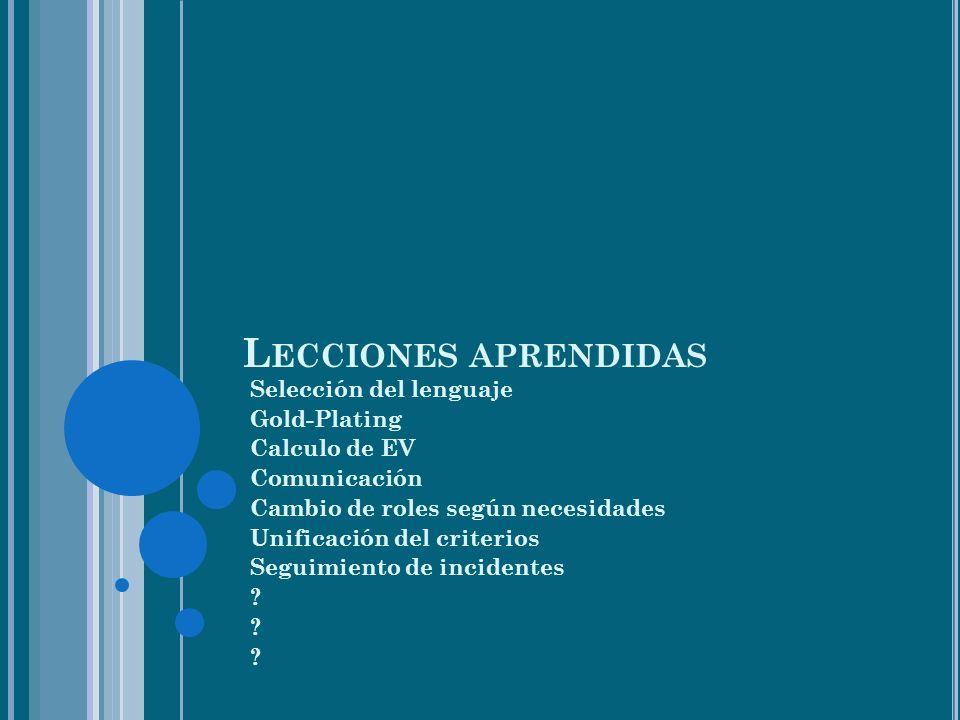 L ECCIONES APRENDIDAS Selección del lenguaje Gold-Plating Calculo de EV Comunicación Cambio de roles según necesidades Unificación del criterios Seguimiento de incidentes