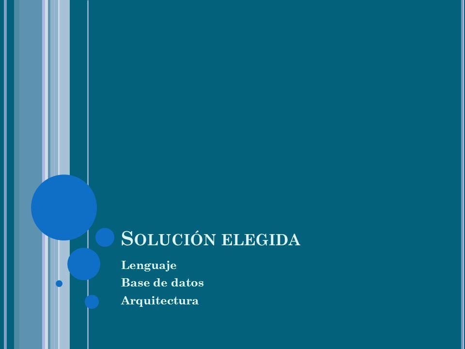 S OLUCIÓN ELEGIDA Lenguaje Base de datos Arquitectura