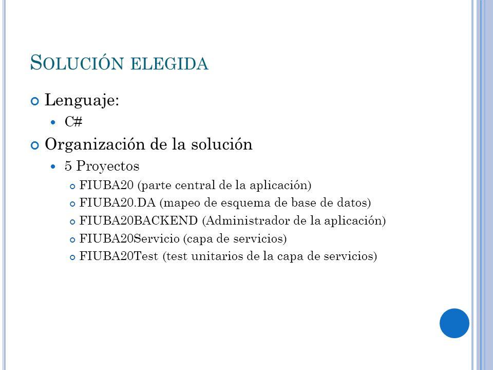 S OLUCIÓN ELEGIDA Lenguaje: C# Organización de la solución 5 Proyectos FIUBA20 (parte central de la aplicación) FIUBA20.DA (mapeo de esquema de base de datos) FIUBA20BACKEND (Administrador de la aplicación) FIUBA20Servicio (capa de servicios) FIUBA20Test (test unitarios de la capa de servicios)