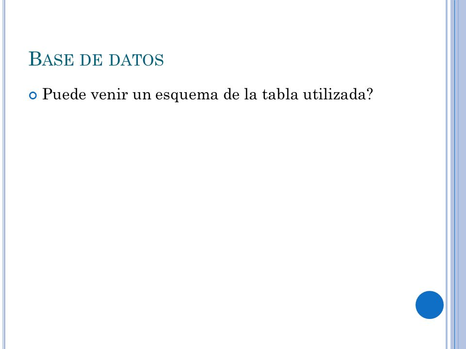 B ASE DE DATOS Puede venir un esquema de la tabla utilizada