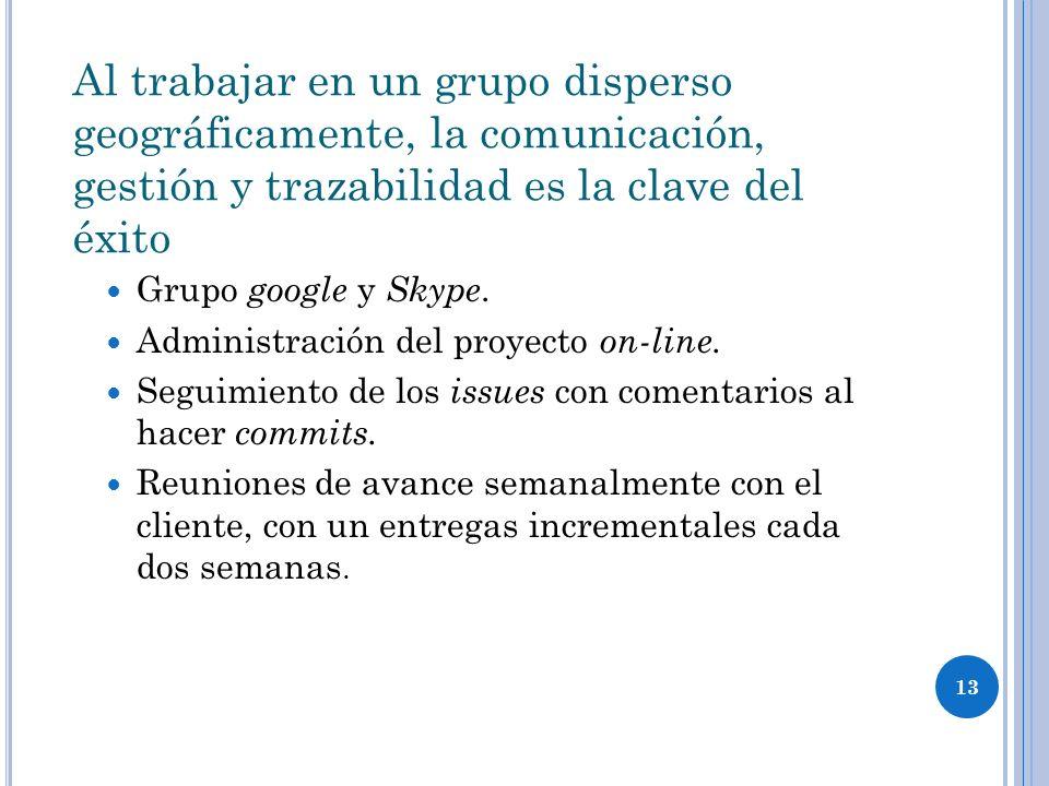 13 Al trabajar en un grupo disperso geográficamente, la comunicación, gestión y trazabilidad es la clave del éxito Grupo google y Skype.