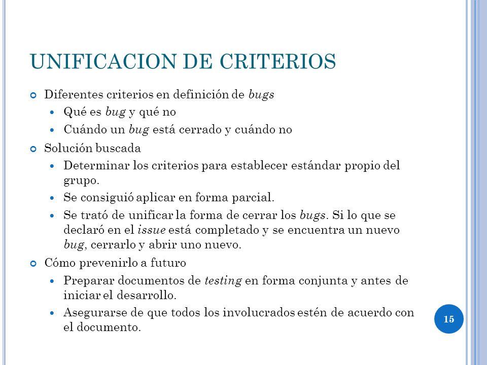 15 UNIFICACION DE CRITERIOS Diferentes criterios en definición de bugs Qué es bug y qué no Cuándo un bug está cerrado y cuándo no Solución buscada Determinar los criterios para establecer estándar propio del grupo.