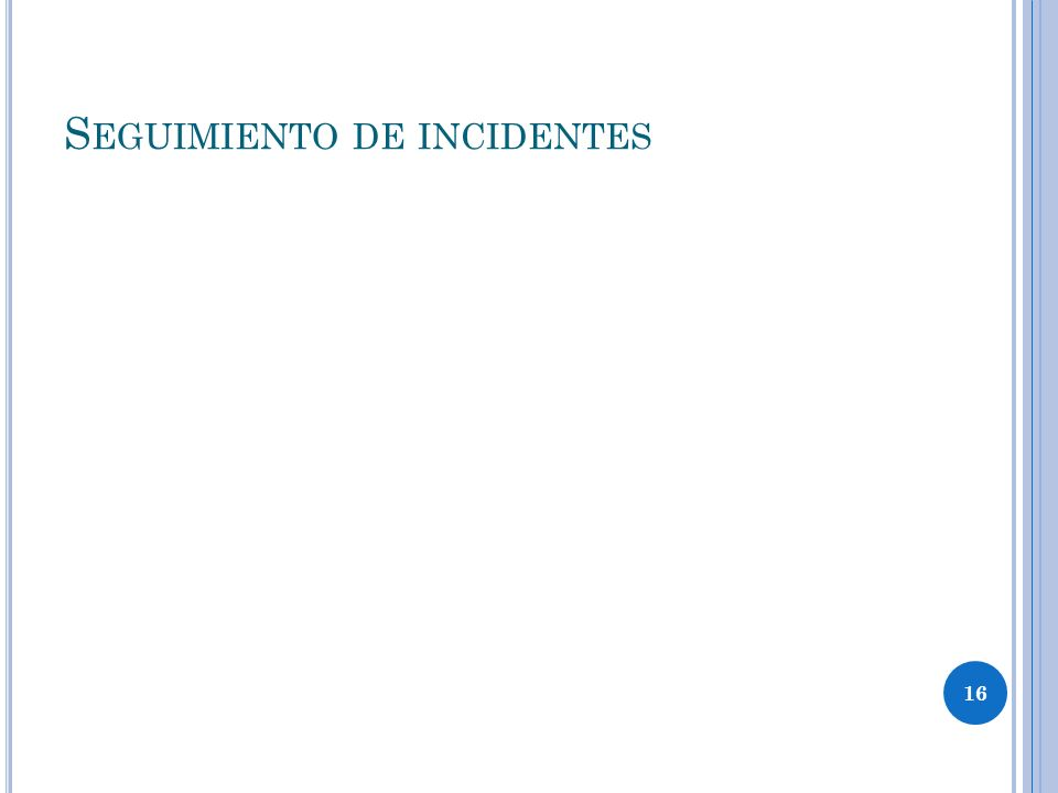 16 S EGUIMIENTO DE INCIDENTES