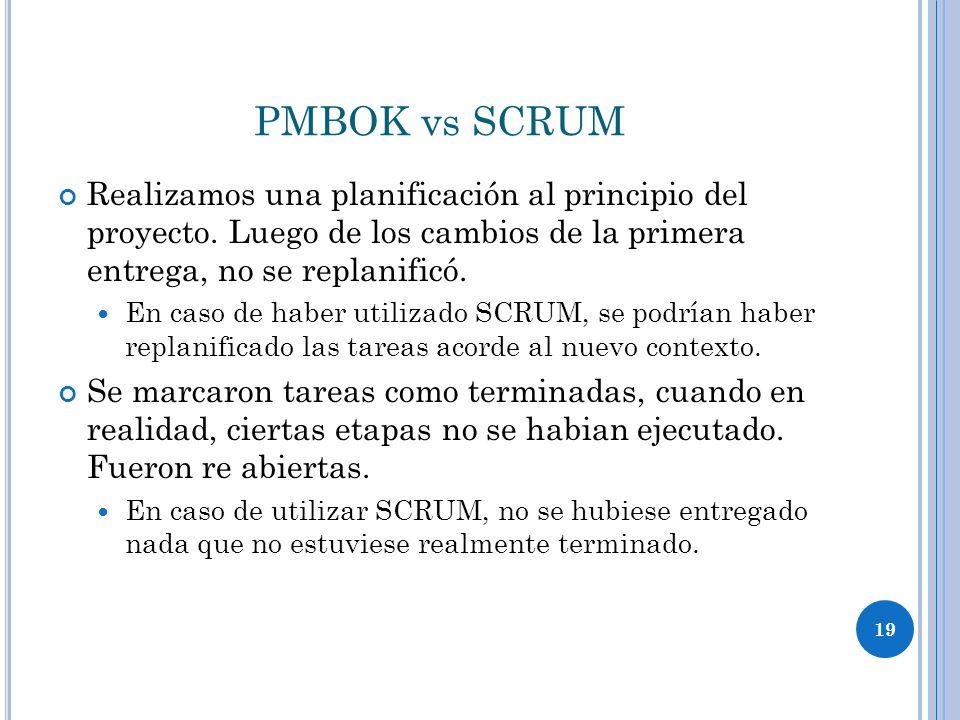 19 PMBOK vs SCRUM Realizamos una planificación al principio del proyecto.