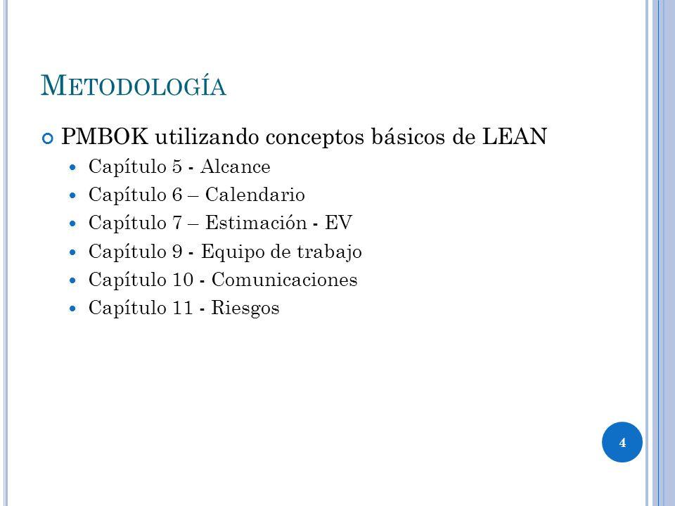 4 PMBOK utilizando conceptos básicos de LEAN Capítulo 5 - Alcance Capítulo 6 – Calendario Capítulo 7 – Estimación - EV Capítulo 9 - Equipo de trabajo Capítulo 10 - Comunicaciones Capítulo 11 - Riesgos