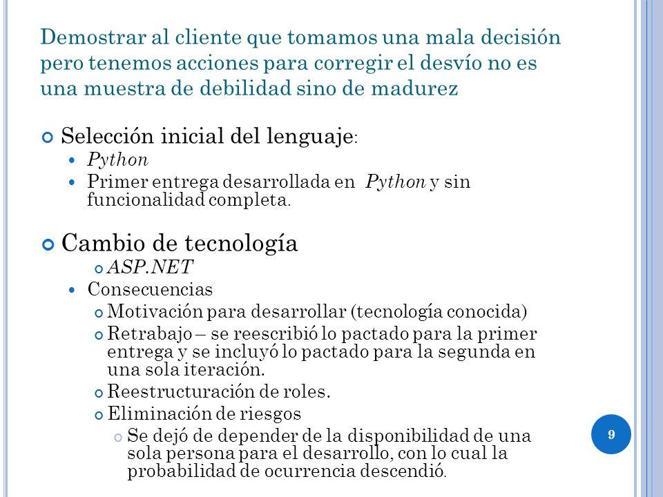 9 Demostrar al cliente que tomamos una mala decisión pero tenemos acciones para corregir el desvío no es una muestra de debilidad sino de madurez Selección inicial del lenguaje : Python Primer entrega desarrollada en Python y sin funcionalidad completa.