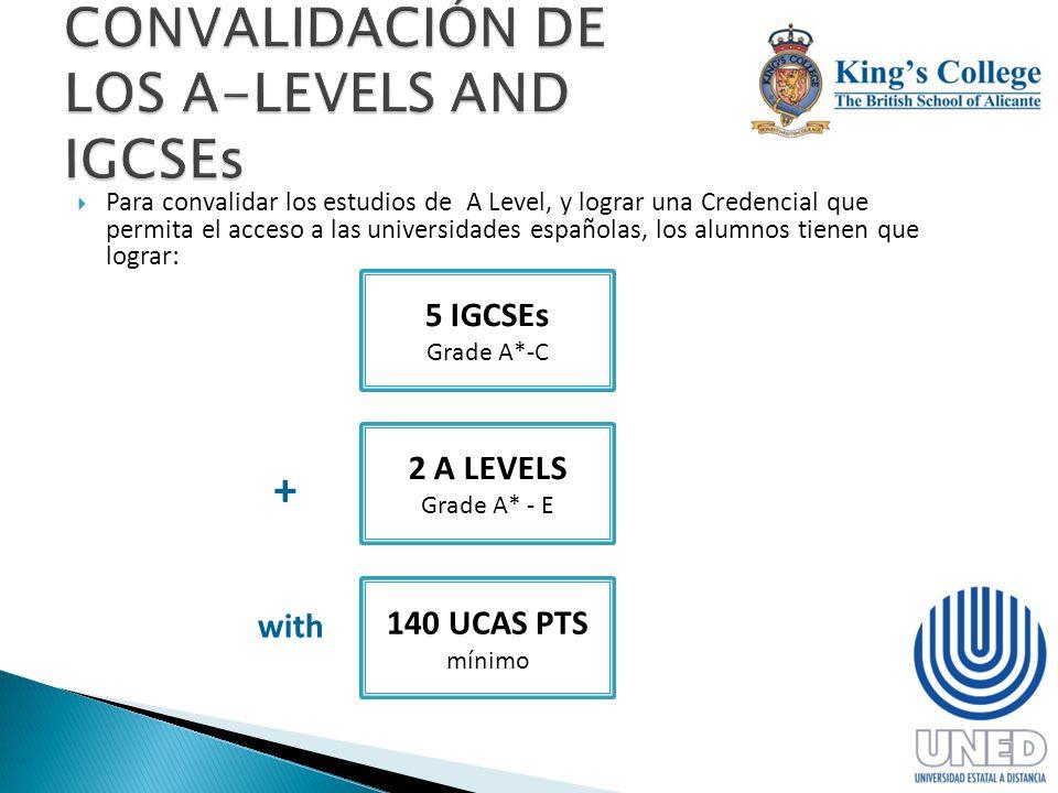Para convalidar los estudios de A Level, y lograr una Credencial que permita el acceso a las universidades españolas, los alumnos tienen que lograr: 5